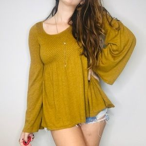 Anthro mustard knitted knotted bell sleeve sweater